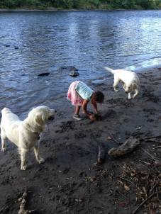 Neveah with Sadie and Beau on the Rogue River