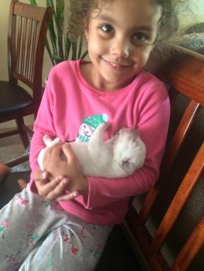 My granddaughter Neveah with Pink girl.